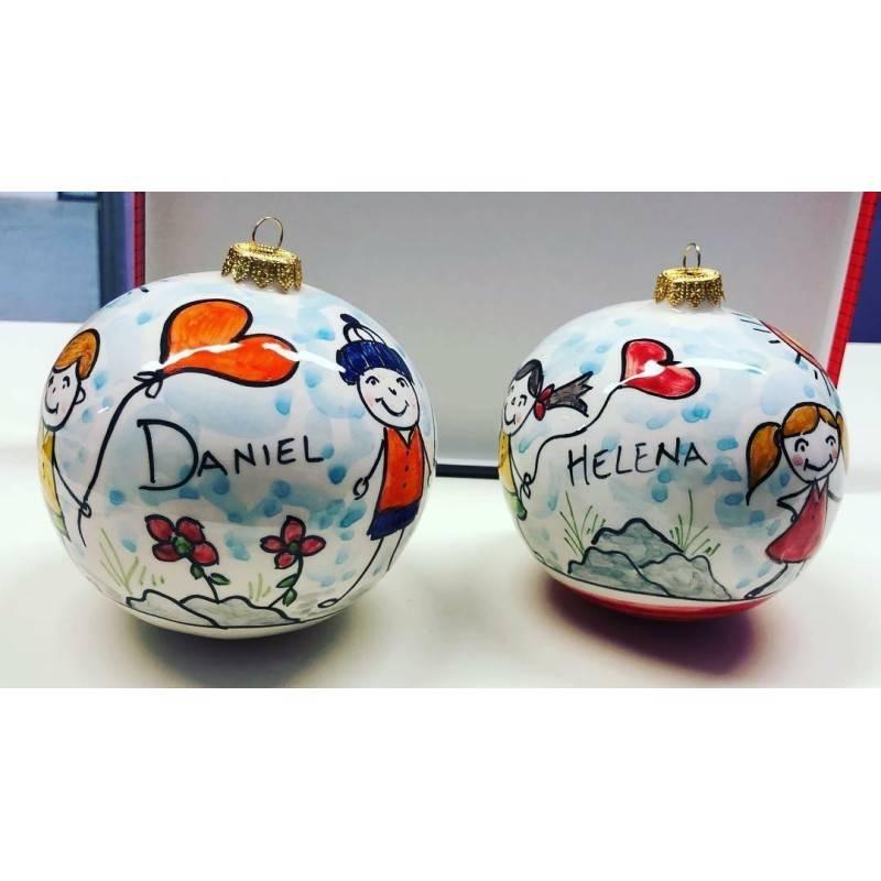 Palline di Natale personalizzate con nome e decoro bimbo o bimba - diametro 8 cm