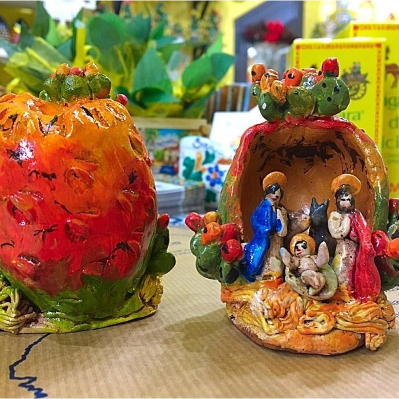 Artistico Presepe siciliano interamente realizzato e decorato a mano - Collezione Frutti: FICODINDIA