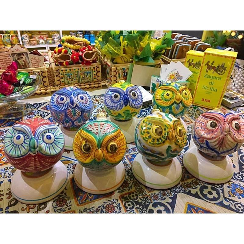 Palline Gufo in pregiata ceramica - diametro circa 9,5 cm - decori vari