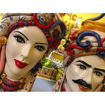 Splendida Coppia di Teste di Moro Caltagirone- modello con turbante e corona- altezza 48 cm