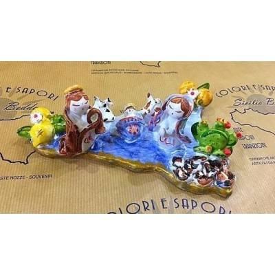 Presepe SICILIA in pregiata ceramica interamente realizzati e decorati a mano - due misure disponibili