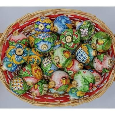 Palline di Natale in pregiata ceramica di Caltagirone - diametro 8 cm - decori vari
