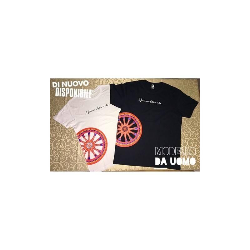 """T-Shirt in 100% puro cotone - Modello UOMO - Tema Siciliano """"Ruota di Carretto"""""""