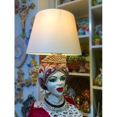 Splendido Lume Caltagirone Testa di Moro Donna - altezza circa 60 cm