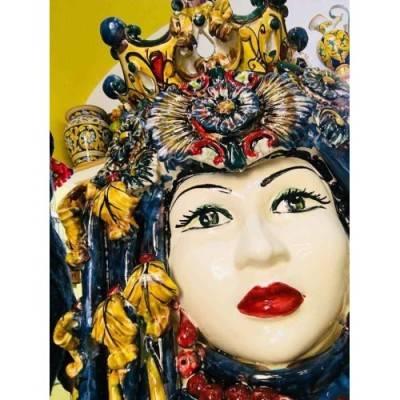 """Coppia di Teste di Moro """"GLI IMPERIALI"""" con rosoni e corona altezza circa 53 cm"""