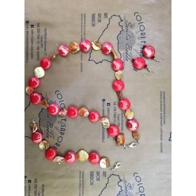 PARURE: Collana, Bracciale e Orecchini in Ceramica e Madreperla