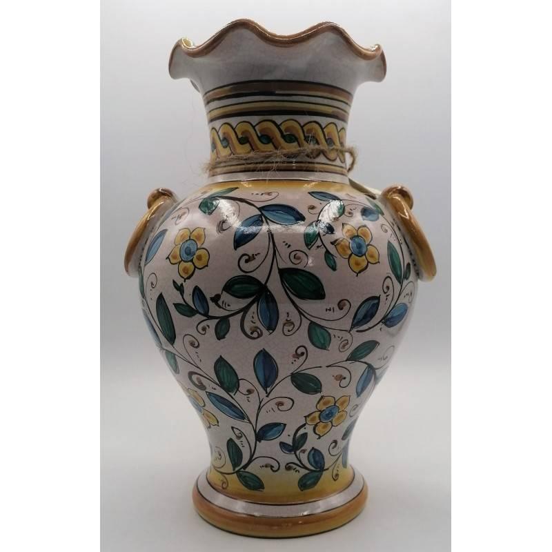 Vaso in ceramica siciliana, manici ad...