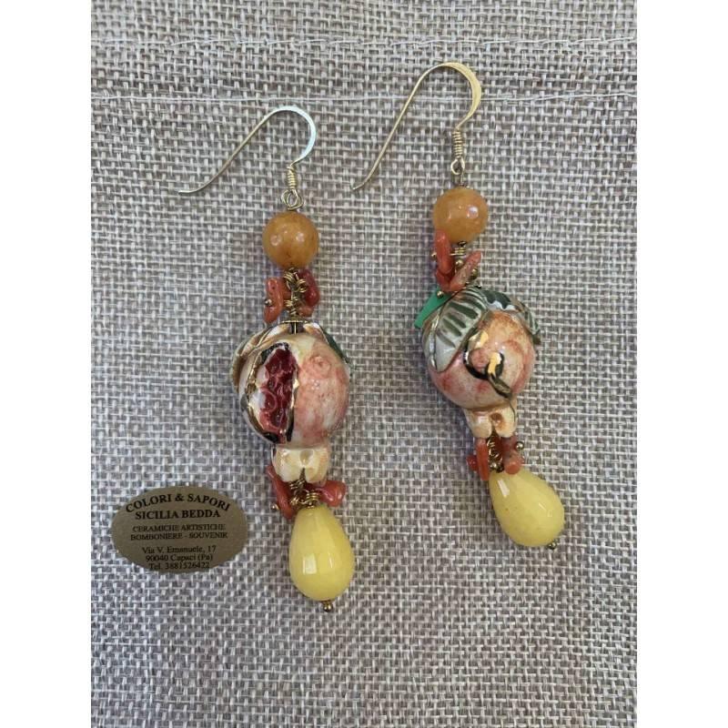 Orecchini Siciliani melograno, ceramica Caltagirone, coralli bamboo, foglia oro,pietra dura giada gialla e giada arancione, fogl