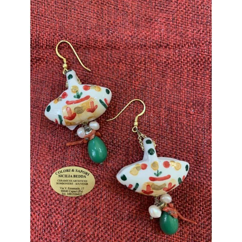 Orecchini coffa Siciliana ceramica Caltagirone,coralli bamboo, pietra dura agata verde
