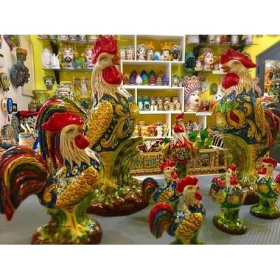 Splendidi Galli in pregiata ceramica di Caltagirone - 3 misure disponibili