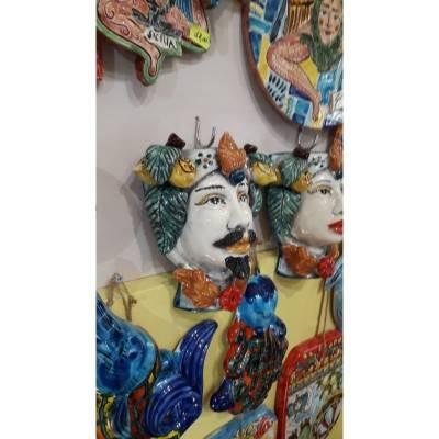 Coppia Teste di Moro Caltagirone da appendere (murali) misure circa 18x18 cm