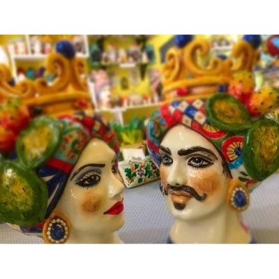 Teste di Moro realizzate a mano decoro carretto Siciliano - altezza 25 cm